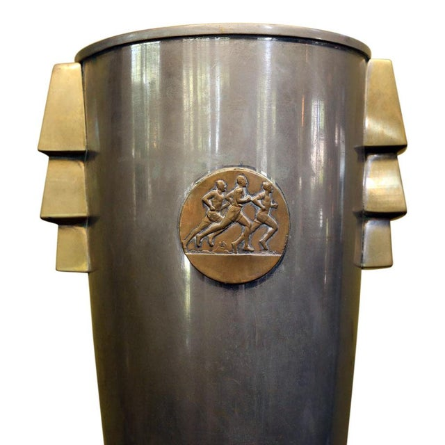 French Deco trophy cup (circa 1925-1940). Nickel over copper mounted on honed stone base. All original with bold shape and...
