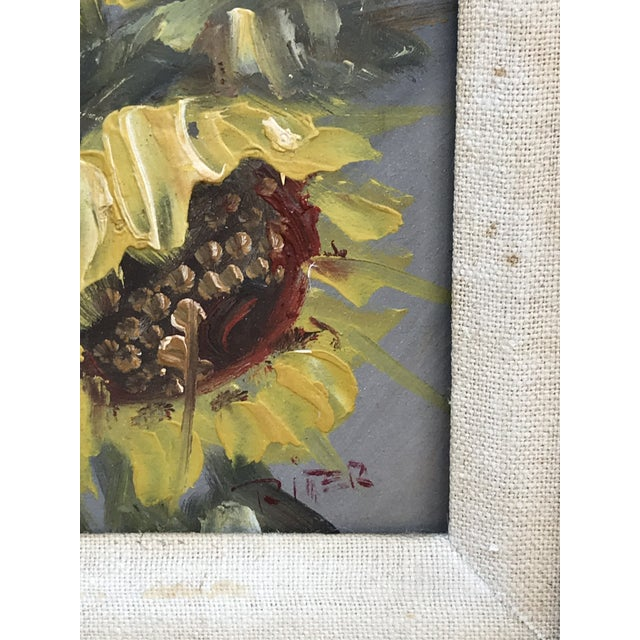 Paint Mid-Century Impressionist Painting of Sunflowers For Sale - Image 7 of 10