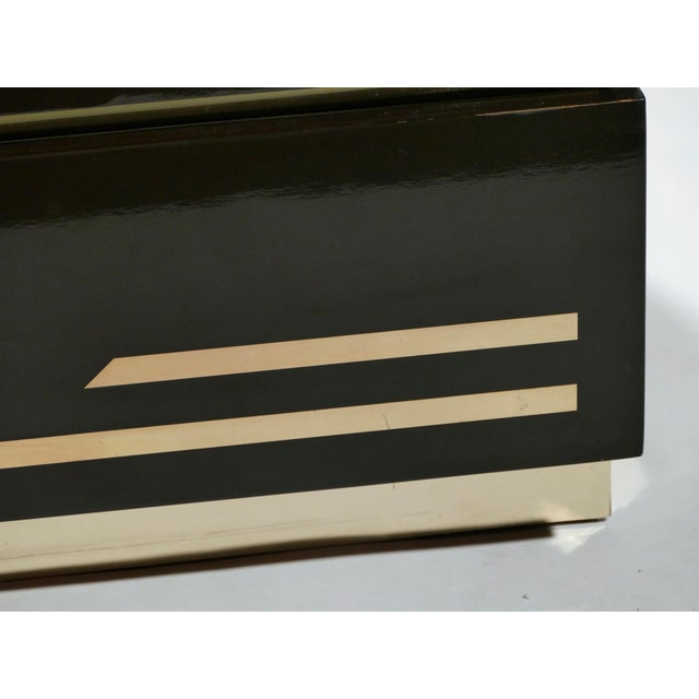 Metal Dark Brown Lacquer and Brass Chest of Drawers by j.c. Mahey, 1970s For Sale - Image 7 of 10
