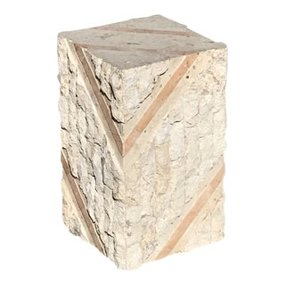1990s Vintage Modern Tessellated Stone Side Table Pedestal Base For Sale
