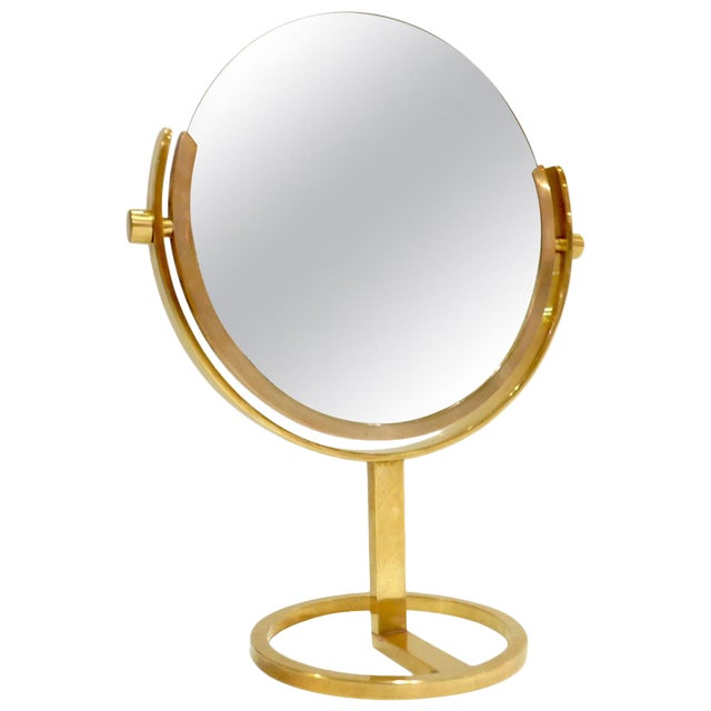 Brass Vanity Table Top Mirror by Charles Hollis Jones For Sale