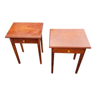Shaker Style Solid Cherry Side Tables - a Pair, Artisan Made For Sale