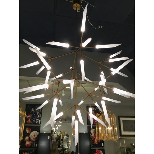 Mid-Century Moder Style Brass and Frosted Glass Sculptural Chandelier For Sale - Image 4 of 5