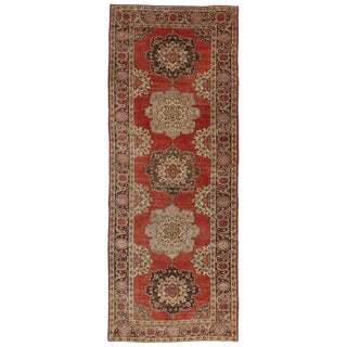 Vintage Turkish Oushak Gallery Rug Runner - 5'2 X 13'7 For Sale