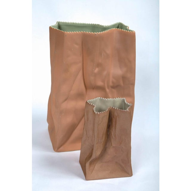 Brown Vintage Paper Bag Vases by Tapio Wirkkala, Rosenthal, Finland, Circa 1970s For Sale - Image 8 of 11