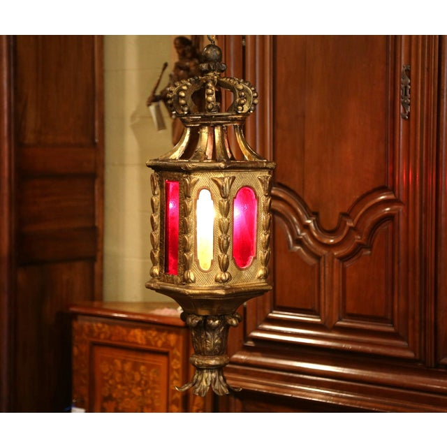 Mid 18th Century 18th Century Italian Carved Giltwood Three-Light Lantern With Stained Glass For Sale - Image 5 of 13
