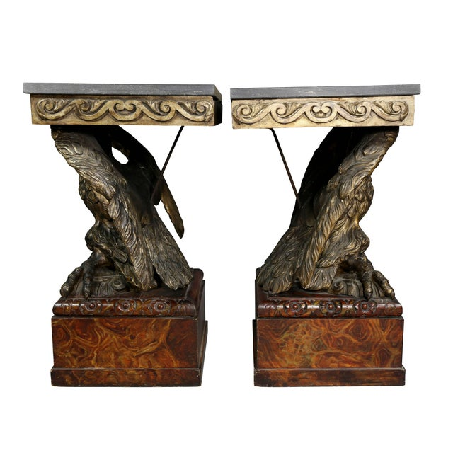 Brass Pair of George II Style Giltwood and Grey Marble Eagle Console Tables For Sale - Image 8 of 10