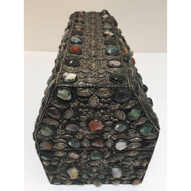Large vintage Moroccan wedding jewelry box inlaid with semi-precious colored stones and covered with silvered hammered...