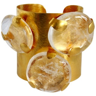 Herve Van Der Straeten Gilded Brass and Triple Rock Crystal Cuff For Sale
