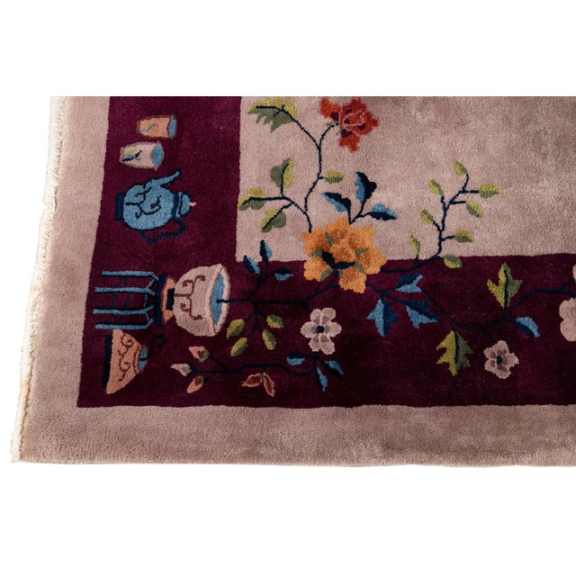 Textile Early 20th Century Antique Art Deco Chinese Wool Rug For Sale - Image 7 of 8
