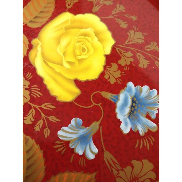 Vintage Red Metal Floral Tray - Image 4 of 9