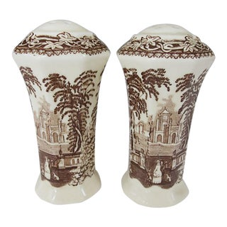 1940s Mason's Brown and White Transfer Ironstone Vista Pattern Salt Shakers - a Pair For Sale