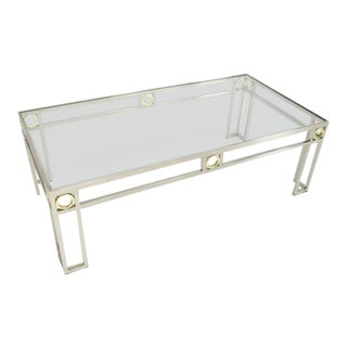 Brass & Chrome Glass Top Rectangular Coffee Table For Sale