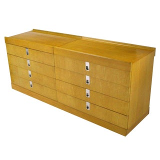 Brian Palmer For Baker Birdseye Maple Modular Three Piece Cabinet For Sale