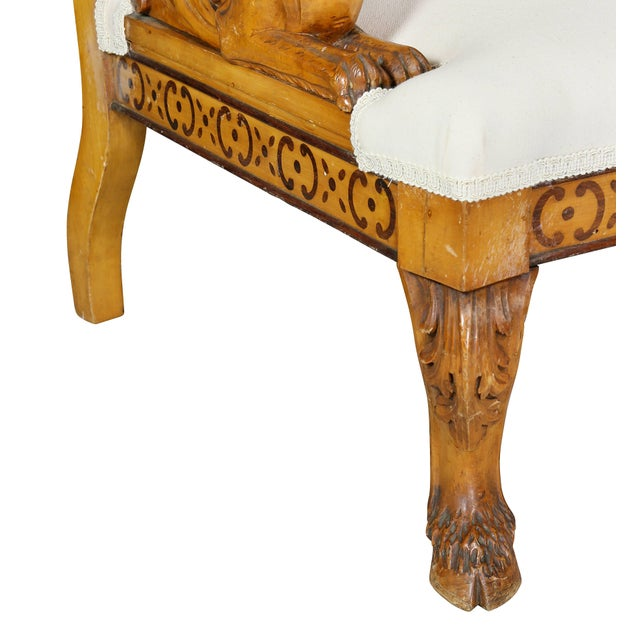 Wood Pair of Italian Neoclassical Maple Armchairs Attributed Pelagio Palagi For Sale - Image 7 of 11