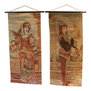 Late 19th Century Antique Needlepoint Tapestries - A Pair For Sale