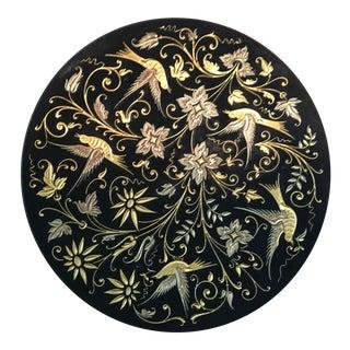 Damascene Black With 18 Karat Gold Trinket Tray