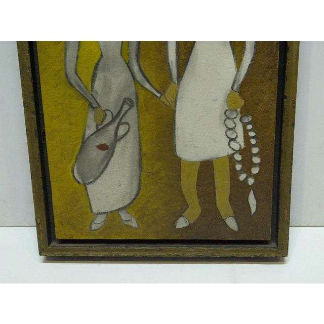 "Original Framed ""Man & Wife"" Painting on Canvas For Sale - Image 5 of 7"