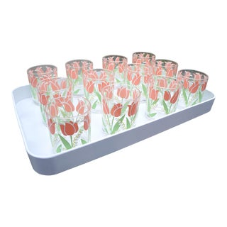Vintage Stotter Beverage Set of 12 Highballs with Large White Serving Tray Tulips Pink Green - 13 Pieces Total For Sale