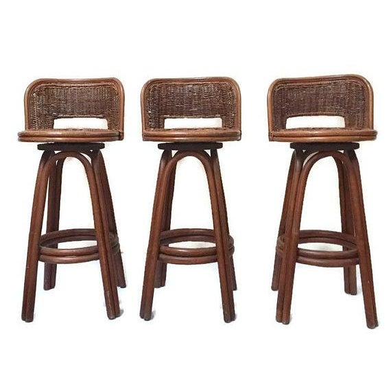 Vintage Rattan & Bamboo Swivel Bar Stools - Set of 3 For Sale - Image 11 of 11