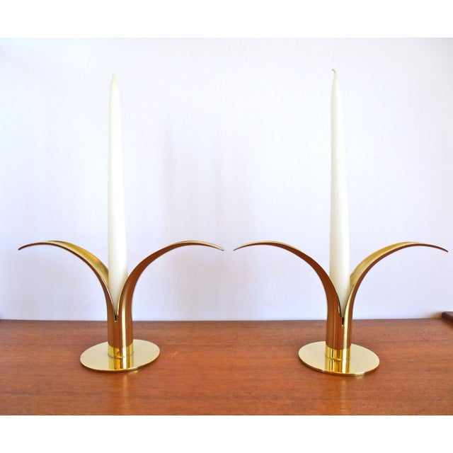 Ystad Metall Brass Lily Candle Holders/Vases - Image 5 of 8
