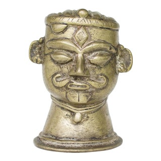 Antique Brass Shiva Head | Mukha Linga From India For Sale