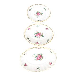 "1930s Graded Spode ""Billingsley Rose Spray"" Scalloped Dishes - Set of 3 For Sale"