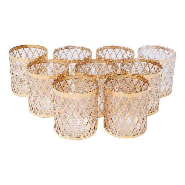 Vintage Gold Lowball Glasses - Set of 9 For Sale