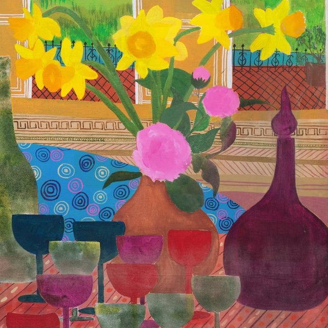 """Signed verso """"Dian Leach"""" and dated March 1975. A substantial, Post-Impressionist oil interior scene showing a vase of..."""
