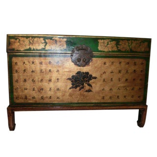 19th Century Chinese Green and Gold Leather Trunk on Stand For Sale