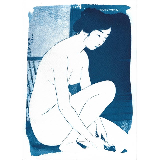 Watercolor Ukiyo-e Geisha Bathing, Handmade, Cyanotype on Watercolor, Limited Serie A4 For Sale - Image 7 of 7