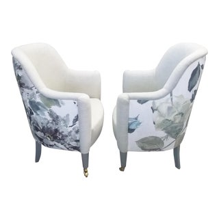 Osborne & Little Fabric Upholstered Club Chairs - A Pair