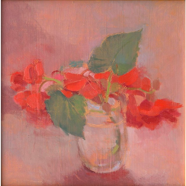 "Amy Griffith Colley ""Vermillion Begonias"" Painting by Amy Griffith Colley For Sale - Image 4 of 4"