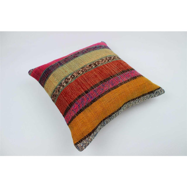 Boho Chic Vintage Turkish Kilim Stiped Wool Rug Pillow Case For Sale - Image 3 of 6