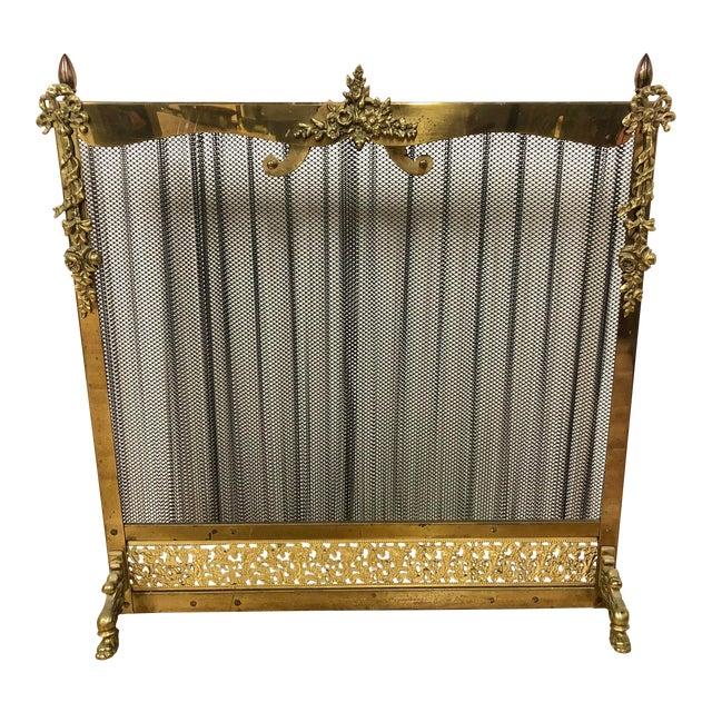 French Louis XVI Ornate Vintage Brass & Sliding Iron Mesh Fireplace Screen For Sale