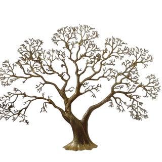 1980s Vintage Bijan Brass Tree Wall Sculpture For Sale
