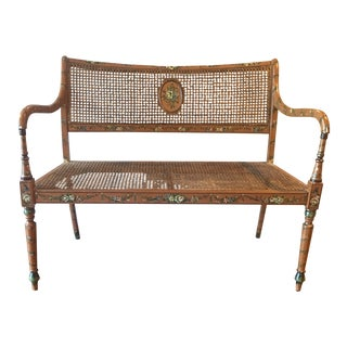 Sarreid Ltd. Hand Painted Caned Settee Bench For Sale