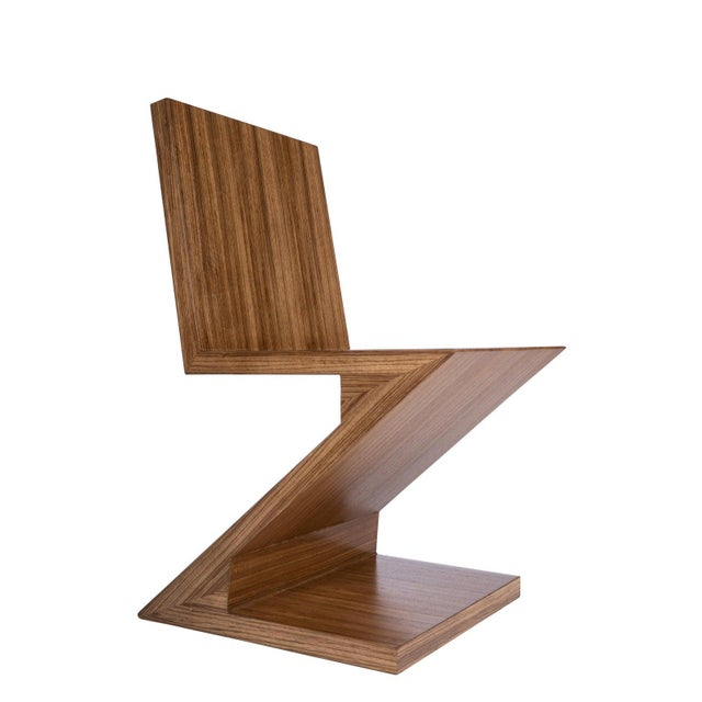 Zig Zag Chair in Brown For Sale - Image 4 of 6