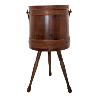 1930s George Bent Antique Wood Sewing Box Barrel For Sale