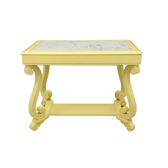 Neoclassical Style Yellow Marble Top Hall Table - Image 9 of 10