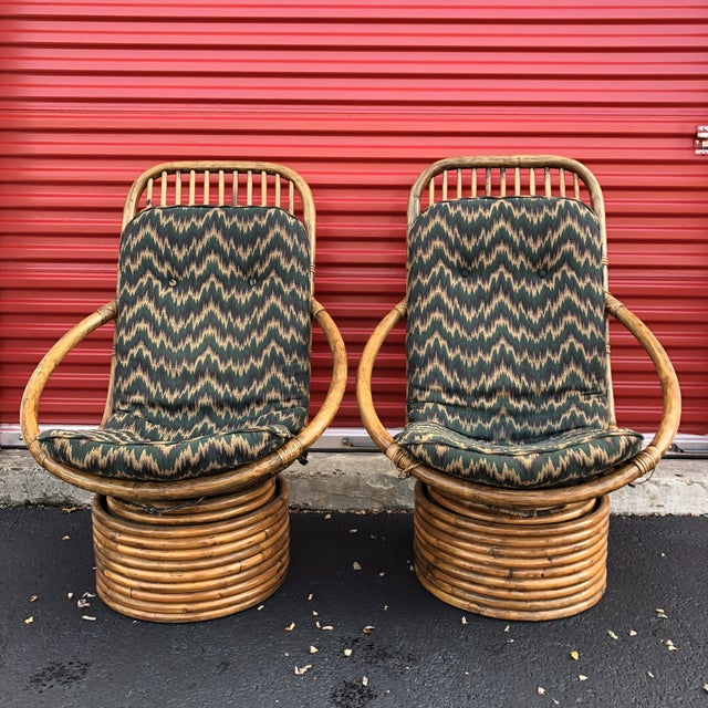 Anglo-Indian 1960s Anglo-Indian Rattan Swivel Lounge Chairs - a Pair For Sale - Image 3 of 13