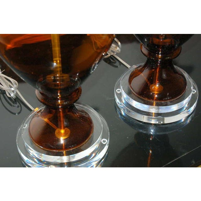 Metal Marbro Vintage Murano Glass Table Lamps in Cognac For Sale - Image 7 of 9
