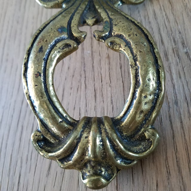 Mid 20th Century Vintage Solid Brass Door Knocker For Sale - Image 5 of 10