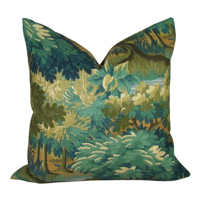 Verdure Print Linen Pillow Cover For Sale