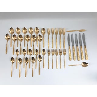 Mid-Century Modern Hollywood Regency Gold Plated Flatware - Set of 39 Preview