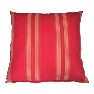 Red Striped Ticking Pillow For Sale