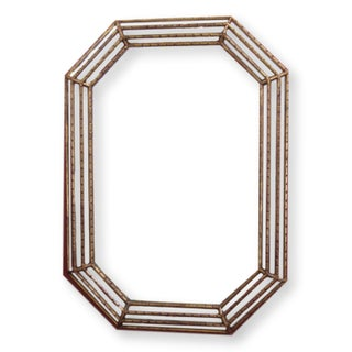 Octagonal Mid-Century Faux Bamboo Gold Gilt Mirror For Sale