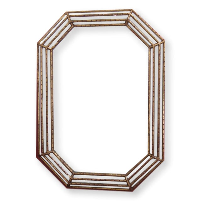Octagonal Mid-Century Faux Bamboo Gold Gilt Mirror - Image 1 of 5