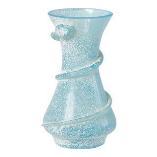 1960s Light Blue Seguso Scavo-Style Mini Murano Glass Vase For Sale