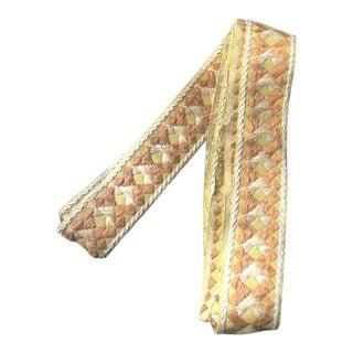 Vintage Mid-Century Geometric Gold & Cream Wide Tape Trim Fabric For Sale